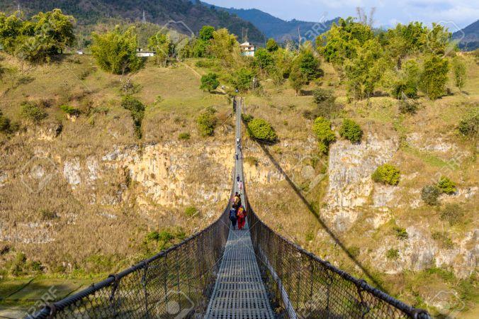 Suspension bridge in Pokhara, Nepal